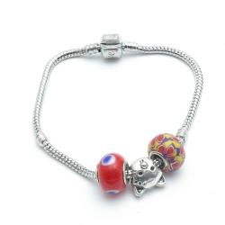 Pandora Style armband met 3 kralen, rood (1 st.)