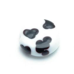 Handgemaakte glaskraal, koeienkraal, rond, plat (1 st.)