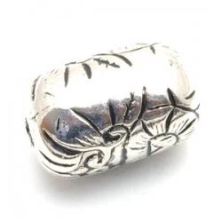 Metallook kraal, ovaal, zilver, 24 mm (5 st.)