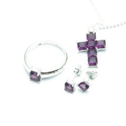 Ketting, oorbellen en ring (maat 18), kruis, paars (1 set)