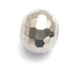 Glaskraal, rond (afgeplat) met facetten, zilver, 96 cut, 14 x 18 mm (5 st.)