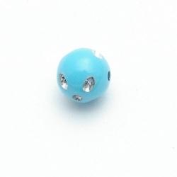 Kunststof kraal rond lichtblauw glittersteen 12 mm (20 st.)