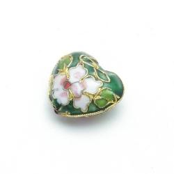 Cloissone kraal, hart, groen, 20 mm (1 st.)