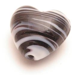 Glaskraal, hart, zwart en wit, 20 mm (5 st.)