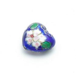 Cloissone kraal, hart, blauw, 20 mm (1 st.)