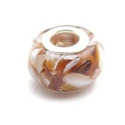 Geperste schelpkraal met groot rijggat, bruin, ca. 9 x 14 mm (1 st.)