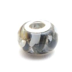 Geperste schelpkraal met groot rijggat, zwart, ca. 9 x 14 mm (1 st.)