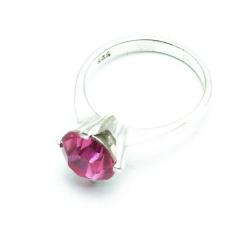 Ring, Sterling zilver, roze steen, maat 16 (1 st.)