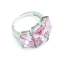 Ring, Sterling zilver met roze zirconia's, maat 19 (1 st.)