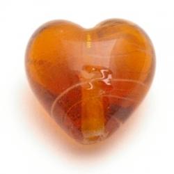 Glaskraal, hart, bruin, 15 mm (5 st.)