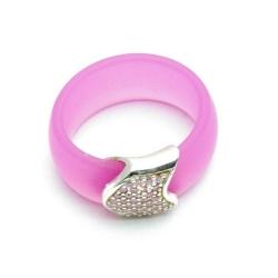 Ring, roze met zirconia's, maat 16.5 (1 st.)
