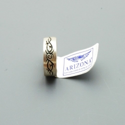Ring, zilver met zwarte tribal, maat 19 (1 st.)