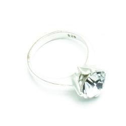 Ring, Sterling zilver, zirkonia, maat 16 (1 st.)