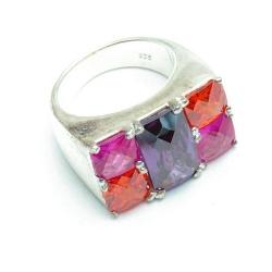 Ring, Sterling zilver, paars/roze/oranje stenen, maat 18 (1 st.)