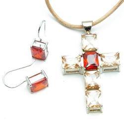Leren ketting met Sterling zilveren kruis-hanger met peach/donker oranje steen en oorbellen met donker oranje steen (1 set)
