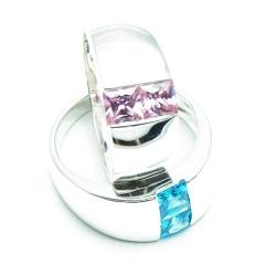 Sterling zilveren ringenset, roze en blauwe zirkonia, maat 20 (2 st.)