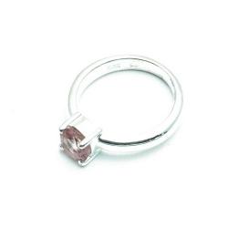 Ring, sterling zilver met roze Swarovski, maat 19 (1 st.)