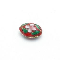 Cloissone kraal, ovaal, rood, 20 mm (3 st.)