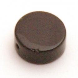 Glaskraal, rond (plat), zwart, 8 x 4 mm (10 st.)