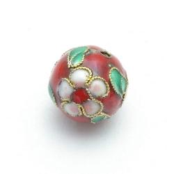 Cloissone kraal, rond, rood, 12 mm (3 st.)