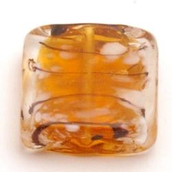 Glaskraal, vierkant (plat), tijger, 20 mm (5 st.)