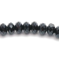 Glaskraal, donut met facetten, zwart, 6 x 4 mm (streng)