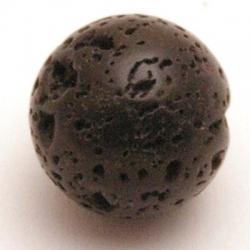 Lava kraal, rond, zwart, 16 mm (5 st.)