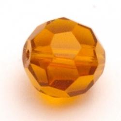 Glaskraal, rond met facetten, bruin, 12 mm (5 st.)