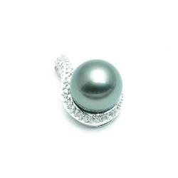 Hanger, Sterling zilver, grijze parel (1 st.)