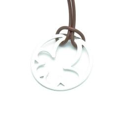 Ketting, bruin koord met Sterling zilveren hanger (1 st.)