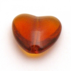 Glaskraal, hart, bruin, 14 mm (5 st.)