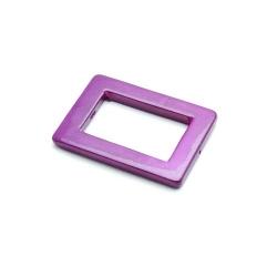 Schelp kraal, rechthoekig, open, paars, 36 x 25 mm (5 st.)