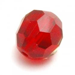 Glaskraal, rond met facetten, rood, 14 mm (5 st.)