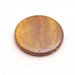 Schelp kraal, rond, bruin, 30 mm (3 st.)