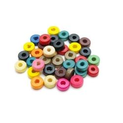 Houten kraal, Mix, rond, plat, 3 x 8 mm (15 gram)