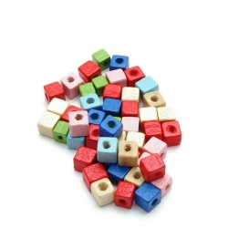 Houten kraal, Mix, blokje, 4 x 4 mm (15 gram)