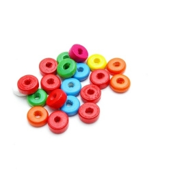 Houten kraal, Mix, schijfje, 3 x 10 mm (15 gram)
