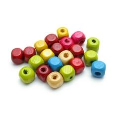Houten kraal, Mix, blokje, 8 x 8 mm (16 gram)