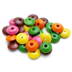 Houten kraal, Mix, schijfje, 6 x 12 mm (18 gram)