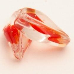 Glaskraal, twist, transparant/rood, 16 mm (10 st.)
