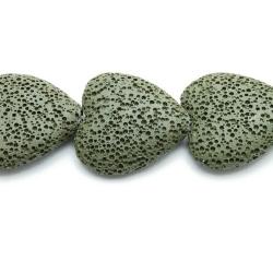 Lava kraal, hart, legergroen, 26 x 22 mm (3 st.)