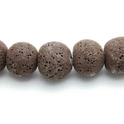 Lava kraal, rond, bruin, 20 mm (5 st.)