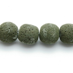 Lava kraal, rond, legergroen, 20 mm (5 st.)