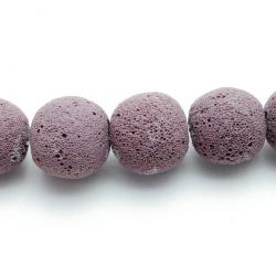 Lava kraal, rond, paars, 20 mm (5 st.)