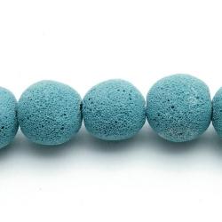 Lava kraal, rond, blauw, 20 mm (5 st.)