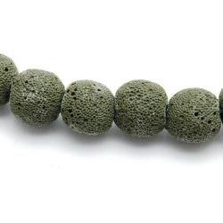 Lava kraal, rond, legergroen, 10 mm (10 st.)