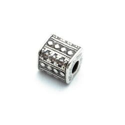 Metallook kraal, vierkant, zilver, 10 mm (10 st.)