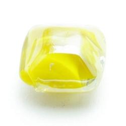 Luster kraal, vierkant (plat), geel, 16 mm (5 st.)