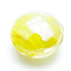 Luster kraal, rond (plat), geel, 20 x 12 mm (5 st.)