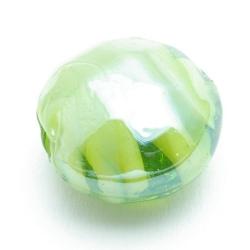 Luster kraal, rond (plat), groen, 20 x 12 mm (5 st.)